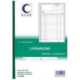 CARNET BON DE LIVRAISON A5 AUTOCOPIANT TRIPLI