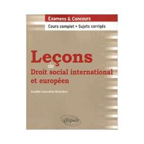 LECONS DE DROIT SOCIAL INTERNATIONAL ET EUROPEEN