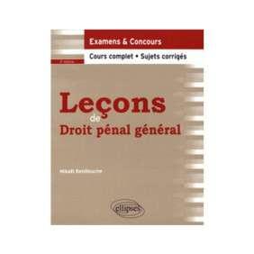 LEÇONS DE DROIT PÉNAL GÉNÉRAL : EXAMENS & CONCOURS