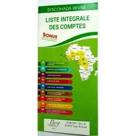 LISTE INTEGRALE DES COMPTES / BILAN ET COMPTES DE RESULTATS -SYSCOHADA REVISE (ETUDIANT)